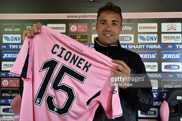 Thiago Cionek poses during his presentation as new player of US Citta' di Palermo after a training session at Carmelo Onorato training center on...