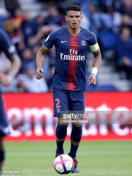 Thiago Da Silva of Paris Saint Germain during the French League 1 match between Paris Saint Germain v Angers at the Parc des Princes on August 25...