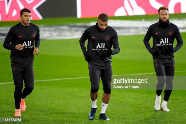 Thiago Da Silva of Paris Saint Germain Kylian Mbappe of Paris Saint Germain Neymar Jr of Paris Saint Germain during the Traning Paris Saint Germain...