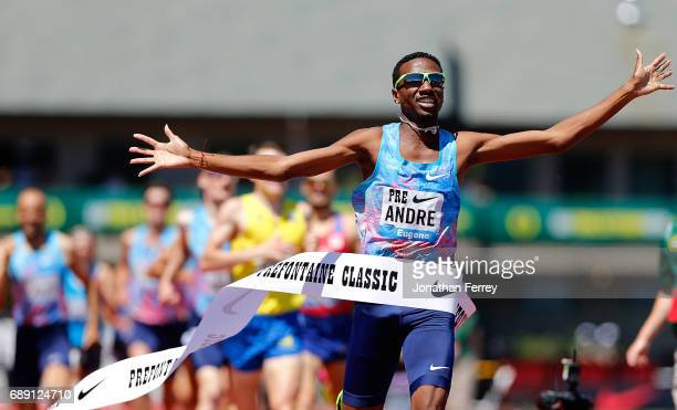 Thiago do Rosario Andre of Brazil win s the International Mile during the 2017 Prefontaine Classic Diamond League at Hayward Field on May 27, 2017 in...