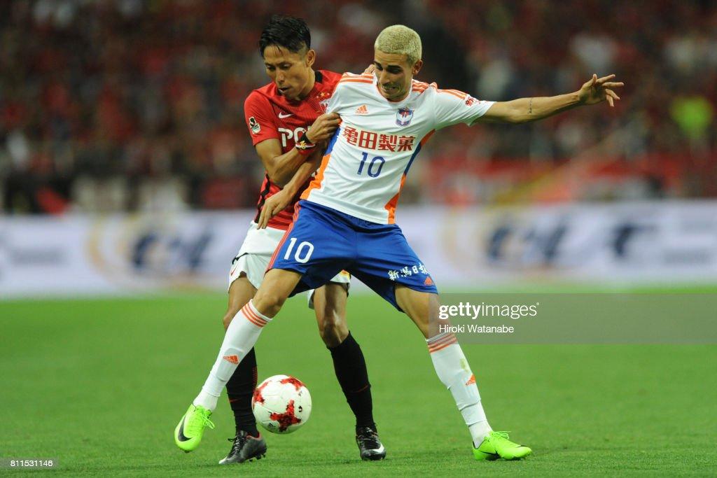 Thiago Galhardo of Albirex Niigata in action during the J.League J1 match between Urawa Red Diamonds and Albirex Niigata at Saitama Stadium on July 9, 2017 in Saitama, Japan.