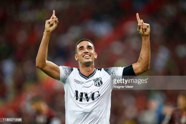 Thiago Galhardo of Ceará celebrates after scoring the first goal of his team during the match against Flamengo as part of the Brasileirao Series A...
