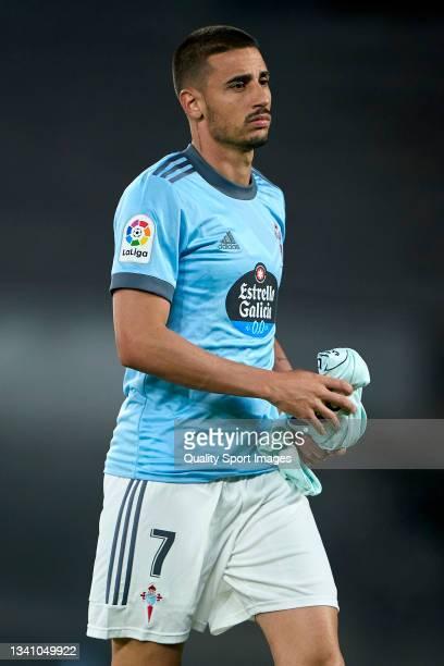 Thiago Galhardo of Celta de Vigo looks on prior to the La Liga Santander match between RC Celta de Vigo and Cadiz CF at Abanca Balaidos Stadium on...