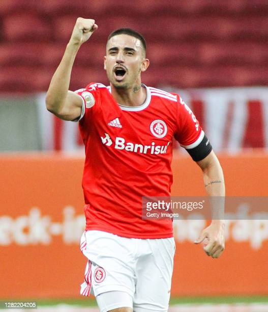 Thiago Galhardo of Internacional celebrates after scoring the second goal of his team during the match against Flamengo as part of Brasileirao Series...
