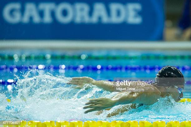 Thiago Machado of Brazil competes in mens 400m individual medleyfinal event during day four of the X South American Games Santiago 2014 at Centro...