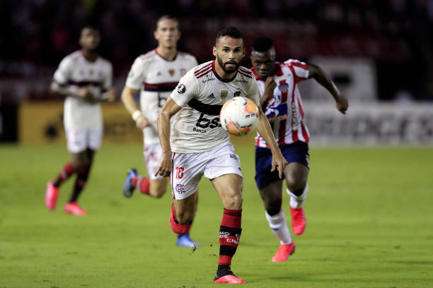 Thiago Maia of Flamengo runs after the ball during the group A match of Copa CONMEBOL Libertadores between Junior and Flamengo at Estadio...