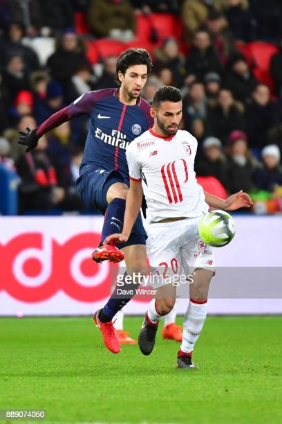 Thiago Maia of Lille and Javier Pastore of PSG during the Ligue 1 match between Paris Saint Germain and Lille OSC at Parc des Princes on December 9...