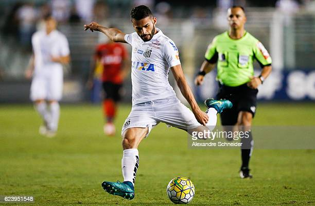 Thiago Maia of Santos in action during the match between Santos and Vitoria for the Brazilian Series A 2016 at Vila Belmiro stadium on November 17...