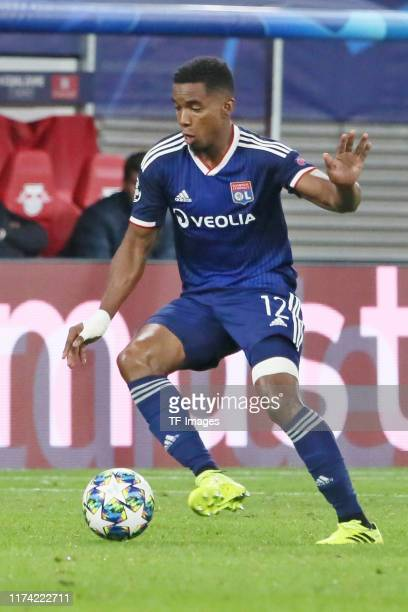 Thiago Mendes of Olympique Lyon controls the ball during the UEFA Champions League group G match between RB Leipzig and Olympique Lyon at Red Bull...