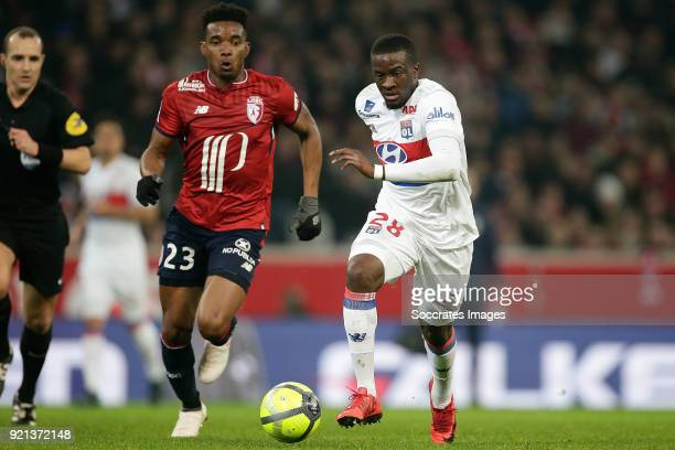 Thiago Mendes Ribeiro of Lille Tanguy Ndombele Alvaro of Olympique Lyon during the French League 1 match between Lille v Olympique Lyon at the Stade...