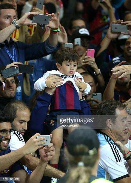 Thiago Messi son of Lionel Messi attends the UEFA Champions League Final between Juventus Turin and FC Barcelona at Olympiastadion on June 6 2015 in...