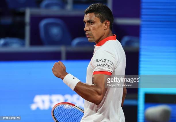 Thiago Monteiro of Brazil reacts during his men's singles first round match against Radu Albot of Moldavia on Day 2 of the ATP 250 Belgrade Open at...
