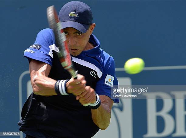 Thiago Montiero of Brazil plays returns a shot to Tim Smyczek of the United States during the BB&T Atlanta Open at Atlantic Station on August 1, 2016...