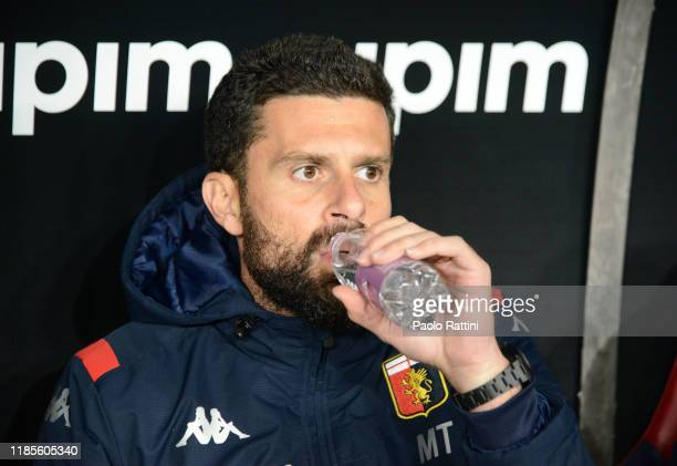Thiago Motta head coach of Genoa CFC drinks water during the Serie A match between Genoa CFC and Torino FC at Stadio Luigi Ferraris on November 30...