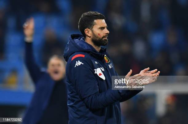 Thiago Motta head coach of Genoa CFC gestures during the Serie A match between SPAL and Genoa CFC at Stadio Paolo Mazza on November 25 2019 in...