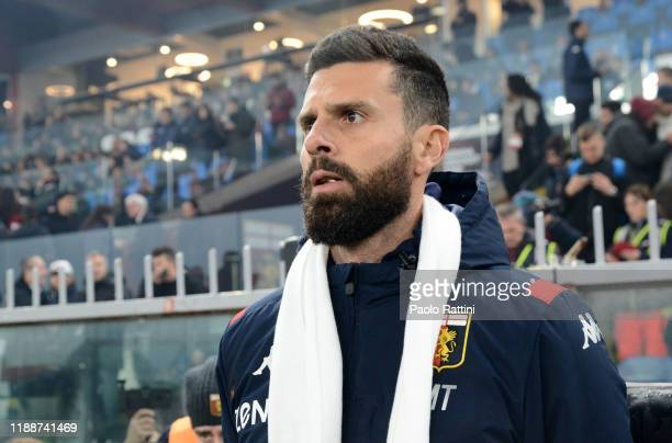 Thiago Motta head coach of Genoa CFC looks on during the Serie A match between Genoa CFC and UC Sampdoria at Stadio Luigi Ferraris on December 15...