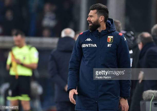 Thiago Motta head coach of Genoa CFC reacts during the Serie A match between Genoa CFC and UC Sampdoria at Stadio Luigi Ferraris on December 15 2019...