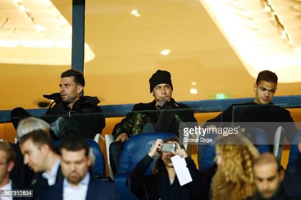 Thiago Motta Neymar Jr and Hatem Ben Arfa of Paris Saint Germain during the Ligue 1 match between Paris Saint Germain and OGC Nice at Parc des...