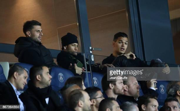 Thiago Motta Neymar Jr Hatem Ben Arfa of PSG attend the French Ligue 1 match between Paris SaintGermain and OGC Nice at Parc des Princes stadium on...