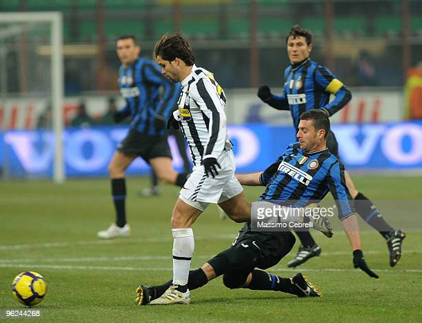 Thiago Motta of FC Inter Milan battles for the ball against Diego da Cunha of Juventus FC during the Tim Cup match between FC Inter Milan and...