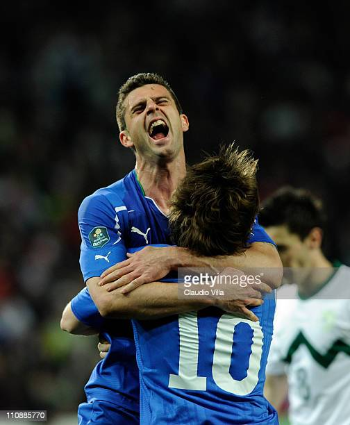 Thiago Motta of Italy celebrates scoring the first goal during the UEFA EURO 2012 qualifier between Slovenia and Italy on March 25 2011 in Ljubljana...