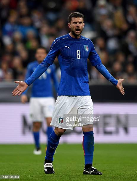 Thiago Motta of Italy reacts during the international friendly match between Germany and Italy at Allianz Arena on March 29 2016 in Munich Germany