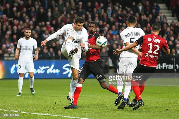 Thiago Motta of Paris Saint Germain during the French Ligue 1 match between Guingamp and Paris Saint Germain at Stade du Roudourou on December 17...
