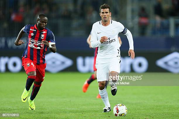 Thiago Motta of Paris Saint Germain during the Ligue 1 match between SM Caen and Paris Saint Germain at Stade Michel D'Ornano on September 16 2016 in...