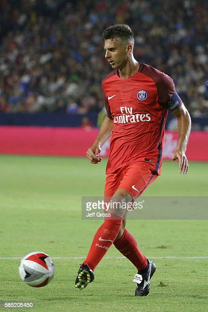 Thiago Motta of Paris SaintGermain in action against Leicester City during the 2016 International Champions Cup at StubHub Center on July 30 2016 in...