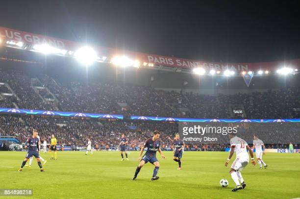 Thiago Motta of PSG and David Alaba of Bayern Munich during the Uefa Champions League match between Paris Saint Germain and Fc Bayern Muenchen on...