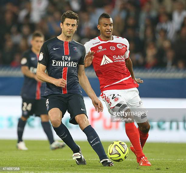 Thiago Motta of PSG and David N'Gog of Stade de Reims in action during the French Ligue 1 match between Paris SaintGermain and Stade de Reims at Parc...