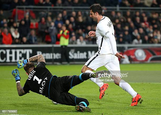 Thiago Motta of PSG and goalkeeper of Rennes Benoit Costil in action during the French Ligue 1 match between Stade Rennais FC and Paris SaintGermain...
