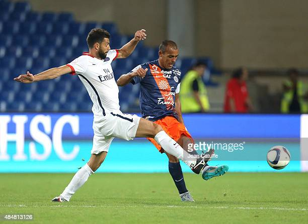 Thiago Motta of PSG and Vitorino Hilton of Montpellier in action during the French Ligue 1 match between Montpellier Herault SC v Paris SaintGermain...