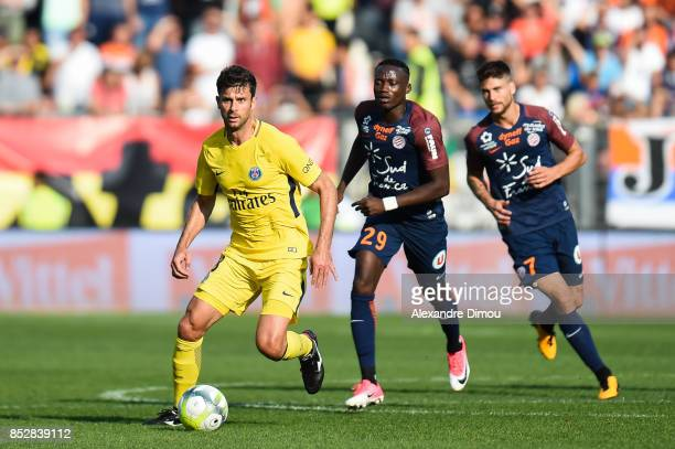 Thiago Motta of PSG during the Ligue 1 match between Montpellier Herault SC and Paris Saint Germain at Stade de la Mosson on September 23 2017 in...