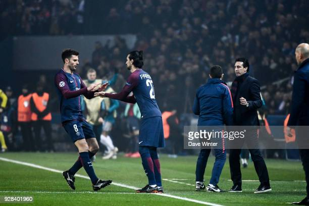 Thiago Motta of PSG is replaced by Javier Pastore during the UEFA Champions League Round of 16 Second Leg match between Paris Saint Germain and Real...