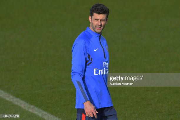 Thiago Motta reacts during a training session of Paris Saint Germain PSG at Camp des Loges on January 26 2018 in Paris France