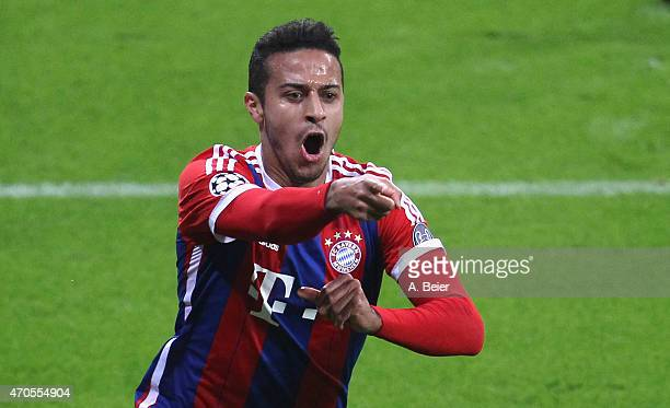 Thiago of Bayern Muenchen celebrates his first goal during the Champions League quarter final second leg match between FC Bayern Muenchen and FC...