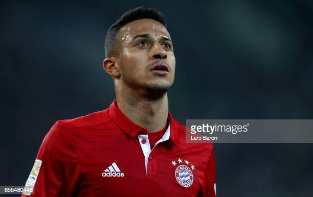 Thiago of Bayern Muenchen is seen during the Bundesliga match between Borussia Moenchengladbach and Bayern Muenchen at BorussiaPark on March 19 2017...
