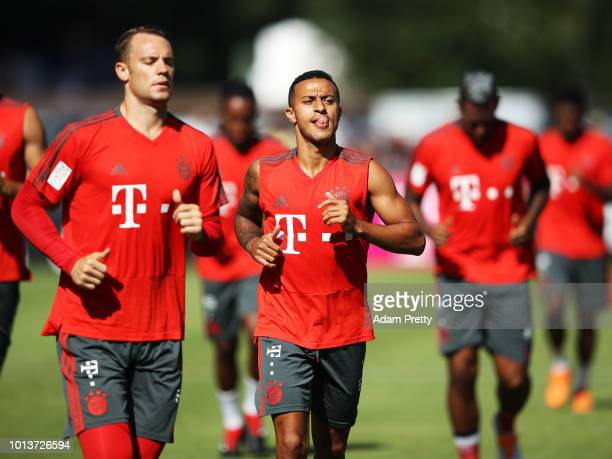 Thiago of Bayern Munich in action during FC Bayern Muenchen pre season training on August 9, 2018 in Rottach-Egern, Germany.