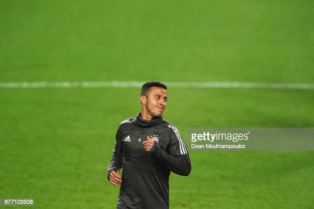 Thiago of Bayern Munich is pictured during the Bayern Muenchen Training session held at the Constant Vanden Stock Stadium on November 21 2017 in...
