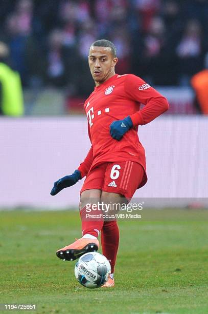 Thiago of Bayern Munich passes the ball during the Bundesliga match between Hertha BSC and FC Bayern Muenchen at Olympiastadion on January 19, 2020...