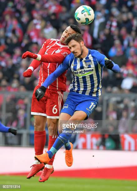 Thiago of FC Bayern Muenchen and Mathew Leckie of Hertha BSC during the Bundesliga match between FC Bayern Muenchen and Hertha BSC at the Allianz...