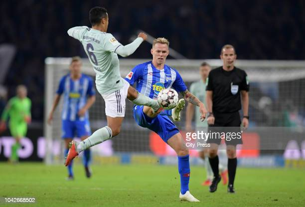 Thiago of FC Bayern Muenchen and Ondrej Duda of Hertha BSC during the game between Hertha BSC and Bayern Muenchen at the Olympiastadion on september...