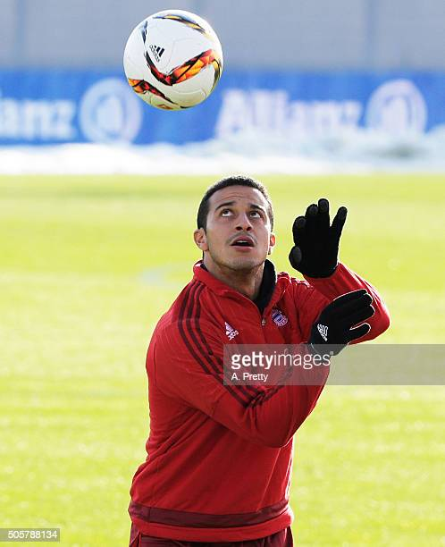 Thiago of FC Bayern Muenchen in action during training at FC Bayern Muenchen Training Grounds on January 20 2016 in Munich Germany