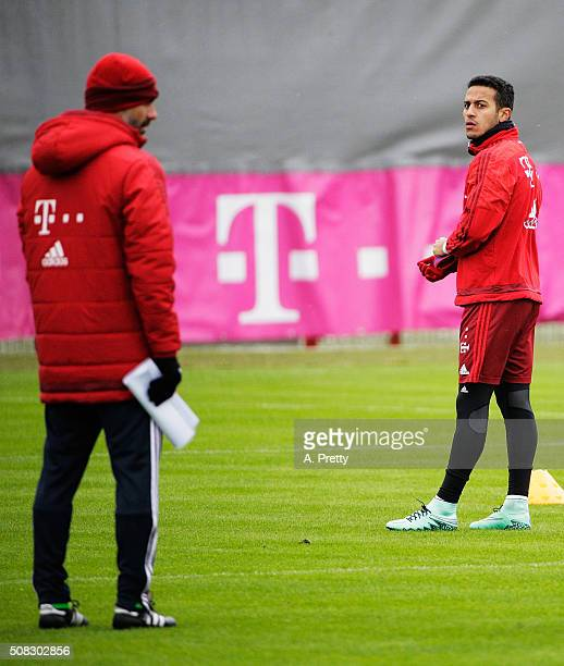 Thiago of FC Bayern Muenchen in action during training at the FC Bayern Muenchen training grounds on February 4 2016 in Munich Germany