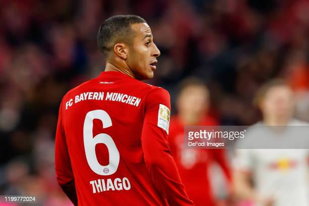 Thiago of FC Bayern Muenchen looks on during the Bundesliga match between FC Bayern Muenchen and RB Leipzig at Allianz Arena on February 9, 2020 in...