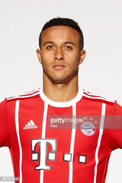 Thiago of FC Bayern Muenchen poses during the team presentation at Allianz Arena on August 8 2017 in Munich Germany