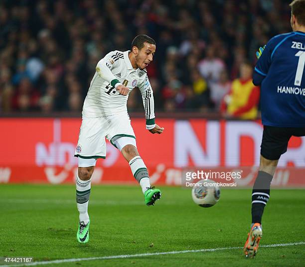 Thiago of FC Bayern Muenchen scores his team's second goal during the Bundesliga match between Hannover 96 and FC Bayern Muenchen at HDI-Arena on...