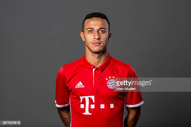 Thiago of FC Bayern Munich pose during the team presentation on August 10 2016 in Munich Germany