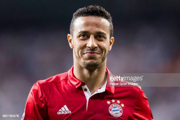 Thiago of FC Bayern Munich reacts during their 201617 UEFA Champions League Quarterfinals second leg match between Real Madrid and FC Bayern Munich...